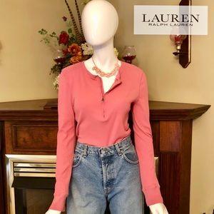 EUC - Ralph Lauren - pink long sleeved tee - L